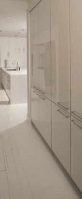 Vetrina Door in White Acrylic; Nordic Kitchens & Bath, Inc. - LA | Photographer: Steven Paul Whitsitt